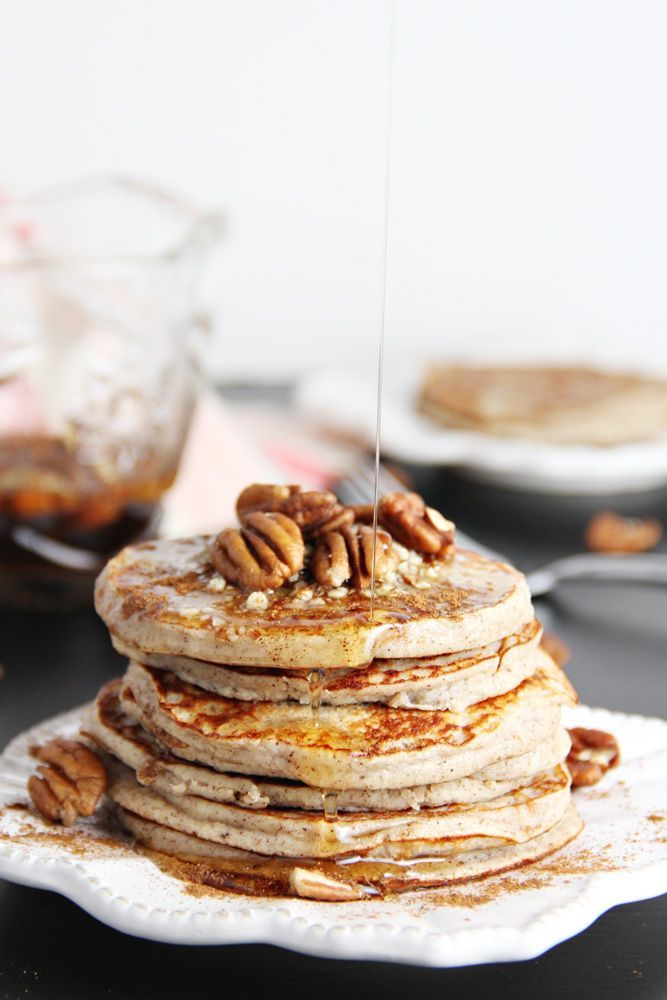 Pecan Pie Pancakes by JarOfLemons.com! Healthy and high in protein!