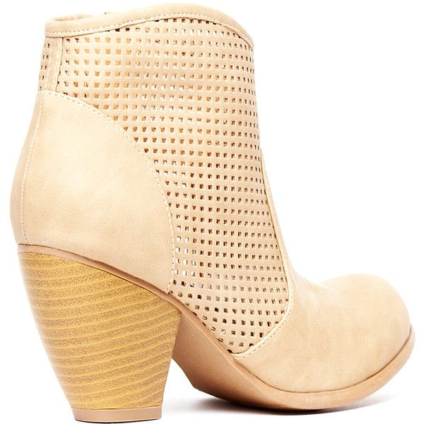 Shane Mesh Ankle Bootie ($25) ❤ liked on Polyvore featuring shoes, boots, ankle booties, tan, tan ankle booties, high heel ankle boots, high heel booties, mesh booties and short boots