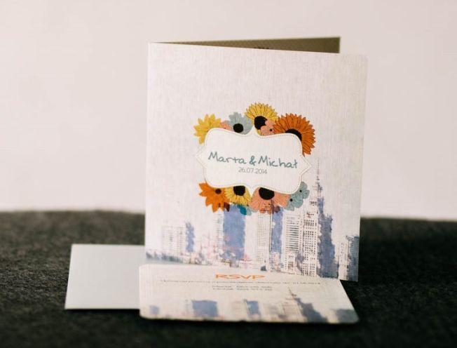 Zaproszenia na ślub z motywem miasta Warszawy, oryginalne projekty zaproszeń ślubnych.