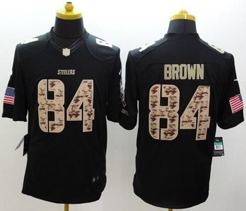 3734befd239 ... 84  cheap wholesale mens pittsburgh steelers antonio brown nike black  salute to service jersey size s xxl