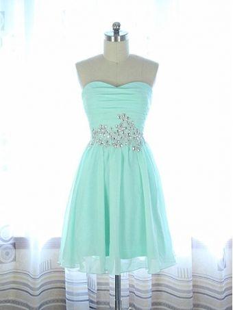 Light Blue A line Chiffon Sequined Short Prom Dress, Homecoming