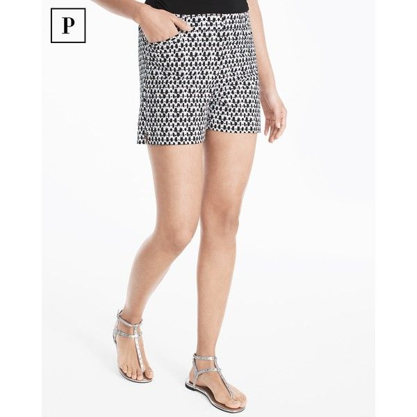 White House Black Market Petite 4 1/2-inch Printed Smooth Stretch... ($69) ❤ liked on Polyvore featuring shorts, petite, stretchy shorts, zipper shorts, petite shorts, mid thigh length shorts and mid thigh shorts