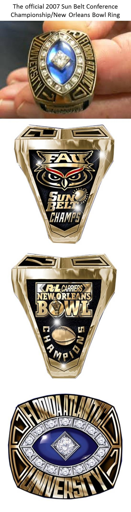 FAU - Florida Atlantic University Owls - the official 2007 Sun Belt Conference Championship - New Orleans Bowl - Ring