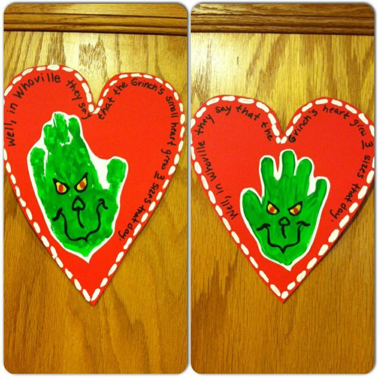 """Grinch Art. Green Handprints, then draw his face on them. I also wrote the quote """"Well, in Whoville they say that the Grinch's small heart grew THREE sizes that day""""."""