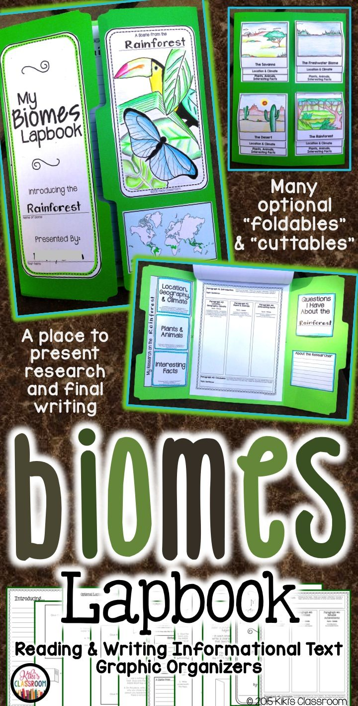BIOMES Report & Lapbook • Everything needed to research and write about the rainforest, ocean, Arctic tundra, and many more!