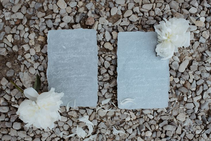 Cotton  Grey hand made  paper and White organic Calligraphy by NICE PLUME