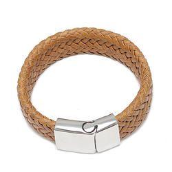 Yellow Braided Leather Bracelet
