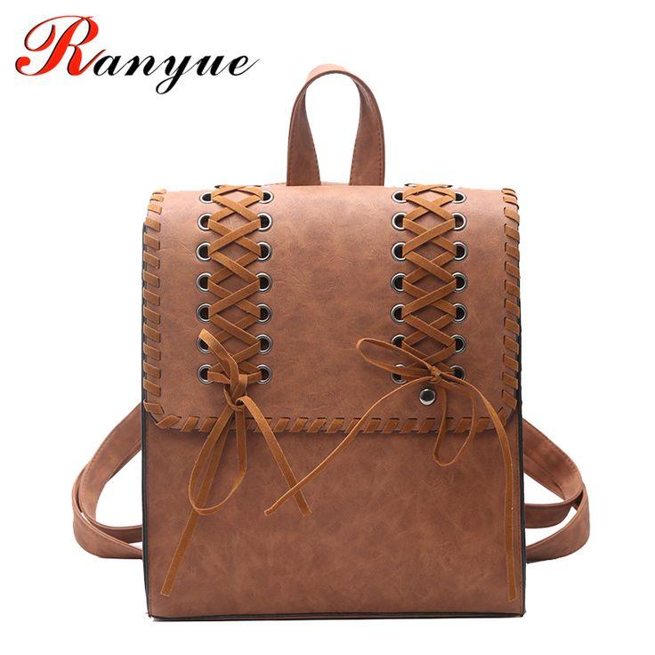 RANYUE Women's Backpack Weave PU Leather School Bag For Teenagers Girls College Wind School Book Backpack Travel Bolsas Mochila
