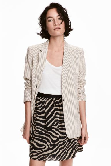 Crinkled chiffon skirt - Zebra print - Ladies | H&M CA 1