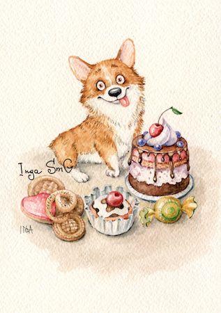 watercolor corgi postcard