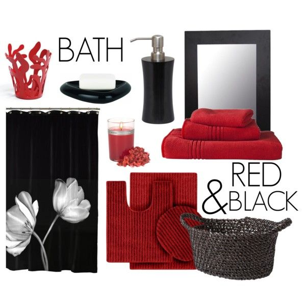 Red black bath decor red black bath and decor for Red and white bathroom accessories
