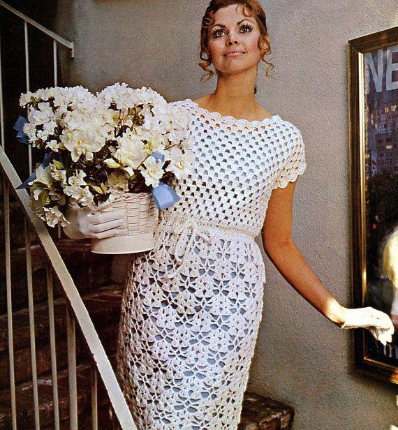Vintage 1970s Crochet Pattern Lacy Dress Wedding by 2ndlookvintage