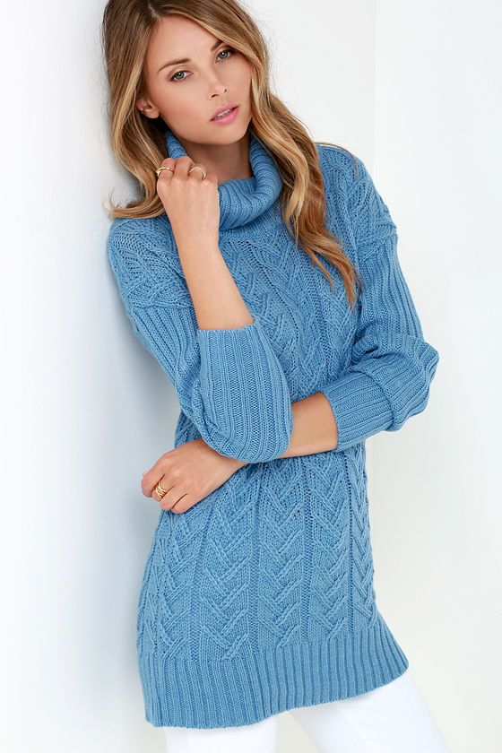 Glamorous Timeless Classic Blue Cable Knit Sweater at Lulus.com!