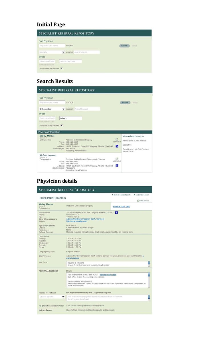 Mockup of initial concept for provincial physician website.