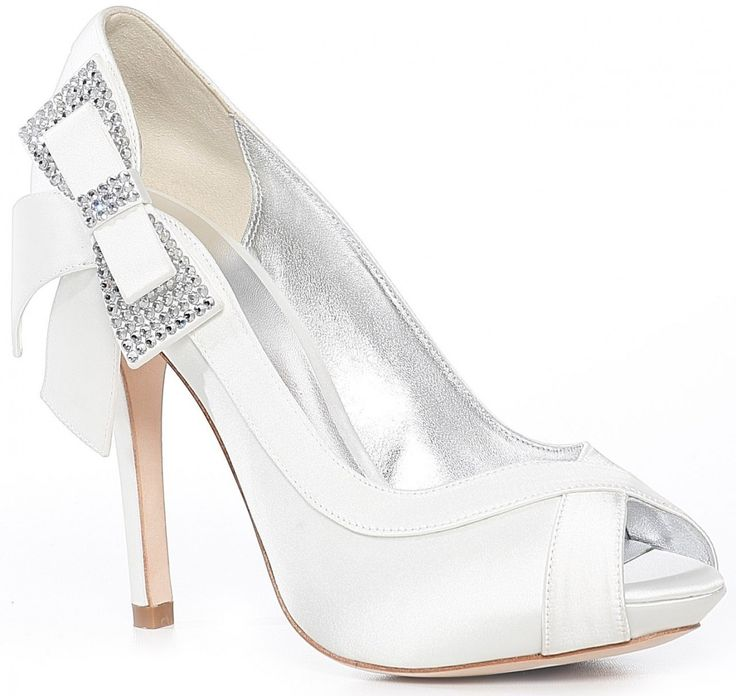 White high heel with diamond ribbon on the side