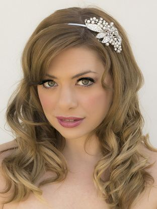 Rhinestone And Pearl Side Accent Bridal Headband Tiara In A Long Curly All Down Hairstyle
