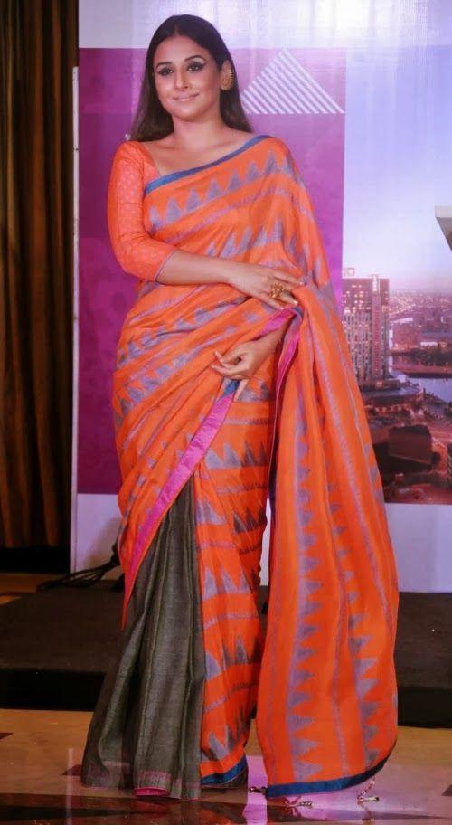 Vidya Balan wearing Orange and Gray Half n Half Tussar Silk Saree