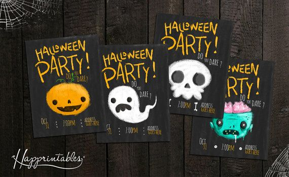 """Welcome to Happrintables! This is a 4x5.5 """" Halloween invitation. Purchase includes 4 different spooky designs -Pumpkin -Ghost -Zombie -Skull and"""