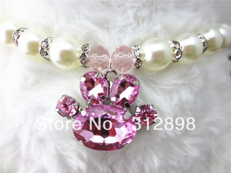 Pink Paw Rhinestone Pandant Cute Bling Pet Dog Necklace For Puppy Small Animals 0505 Yorkshire Dachshund Cat  Accessories Goods