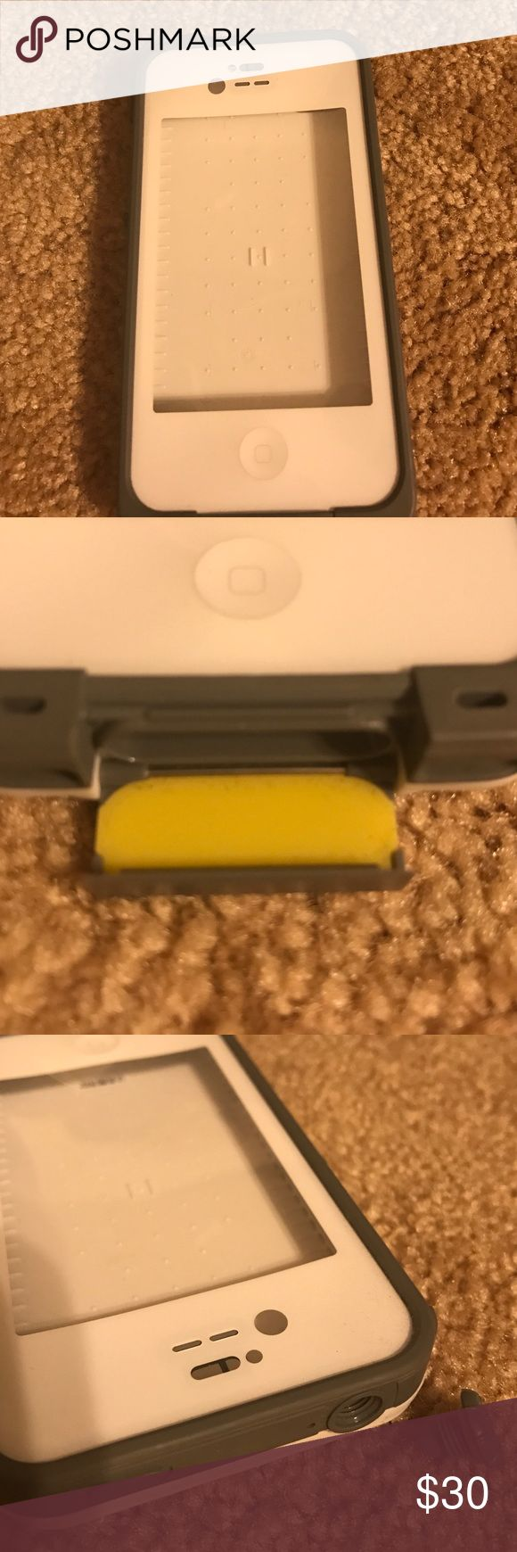 Life proof case for iPhone 4 Never used. Forgot about it and now I am on a iPhone 6-white with gray- has larger opening on bottom and has port up top to plug headphones into- waterproof LifeProof Accessories Phone Cases