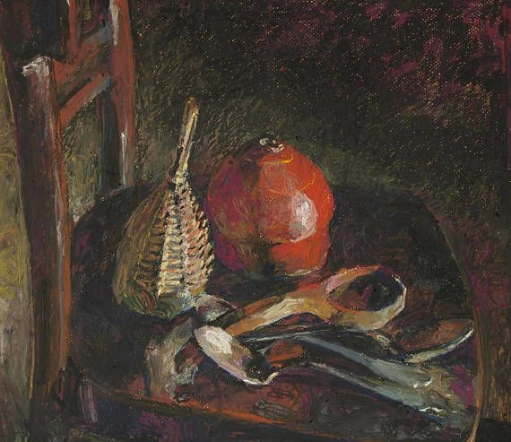 still life with red toy box on a chair