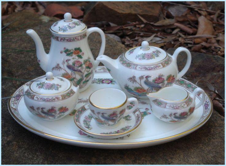 Vintage WEDGWOOD Kutani Crane 6 Piece Miniature Tea Coffee Pot Sugar Creamer Set