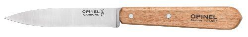 """Opinel Kitchen Two Piece Paring Knife Set by Opinel. $19.52. Opinel Two Piece Paring Knife Set. Includes two model #102 paring knives with 3 3/4 high carbon steel blade and wood handle. Boxed."""""""
