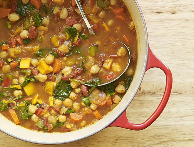 Slow Cooker Moroccan Chickpea Soup #Soups #Food