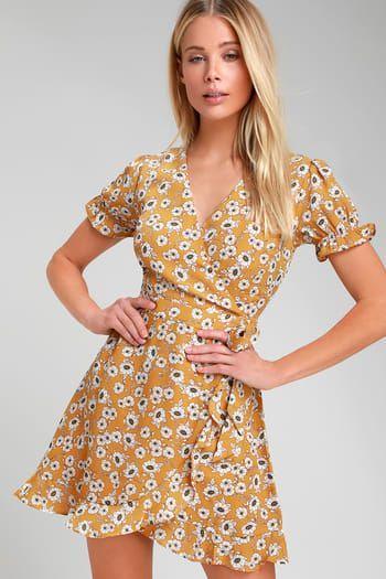ffcf4ff289492 Daisy For You Mustard Yellow Floral Print Ruffled Mini Dress ...