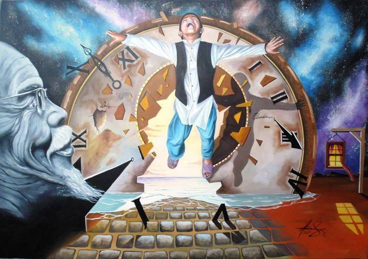 """""""Escaping Time"""" - Oil on canvas. Mihai Adrian Raceanu  #art #painter #painting #surrealism"""