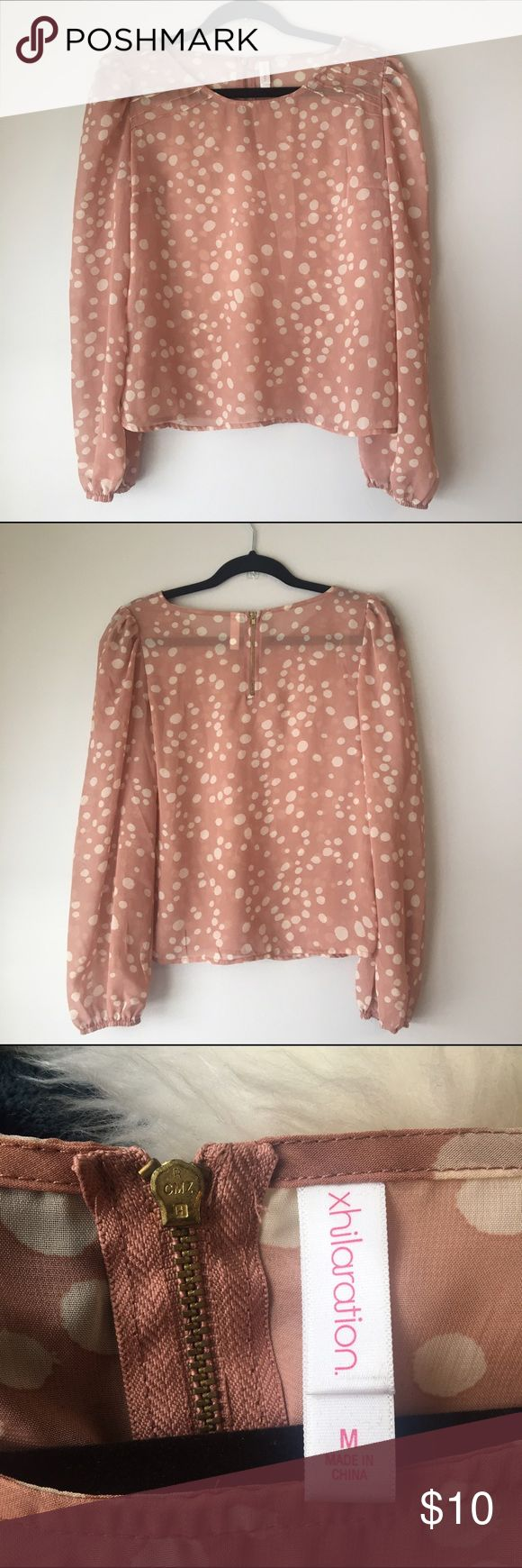 Pink/Beige Long Sleeve Top Unworn- Has a zipped back and cinched sleeves, sits right at waist. Great relaxed fit in a classy shirt. Xhilaration Tops Blouses