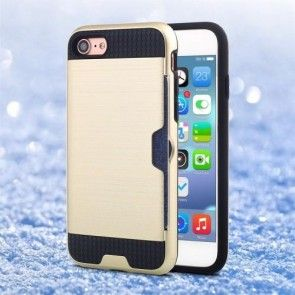 Husa iPhone 7, Combo Cover, Silicon + PC, Gold, Suport Carduri