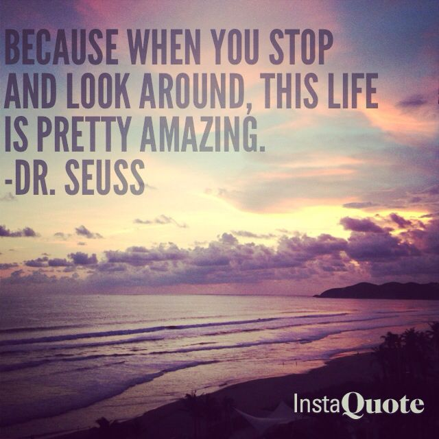 Because when you stop and look around, this life is pretty amazing.  - Dr. Suess
