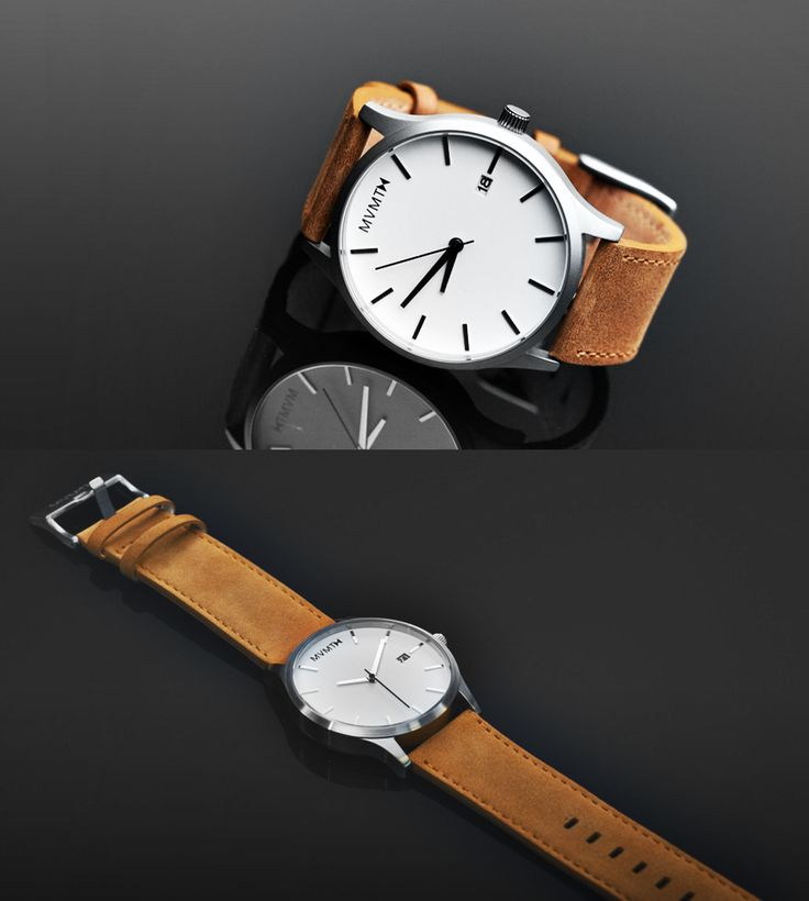 A modern and minimalistic men's watch that suits any look, and makes a statement with it's bold 45mm diameter face | The White/Tan watch by MVMT - $95 (free shipping/returns) #mensfashion #spon @mvmtwatches