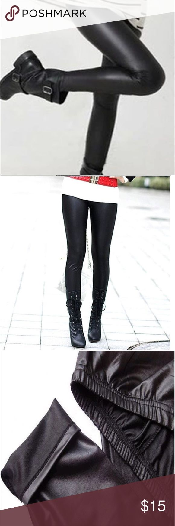 🆕 Sexy Wet Look Faux Leather Leggings Faux Leather Leggings  Wet look faux leather leggings  Has elastic waist Has some stretch  Lined with cotton inside leggings New in package  ✨ One Size: But would fit between a                        XS to M.  Please pay attention to sizes. Boutique Pants Leggings
