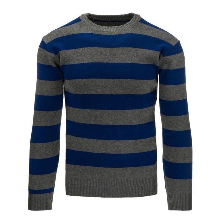 Pohodlný pánský pruhovaný svetr antracitový