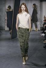 77-3.1 Phillip Lim Fall/Winter 2015/2016 Collection white feminine satin feel shaped high neck with trackpant style army pant, army white and gold, shine