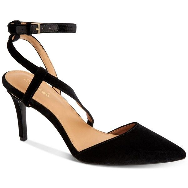 Calvin Klein Women's Ganya Pumps ($109) ❤ liked on Polyvore featuring shoes, pumps, black, strappy pumps, black strappy pumps, black velvet pumps, velvet pumps and monk-strap shoes