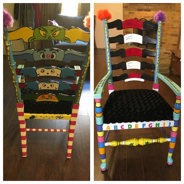 Dr. Seuss Classroom Chair. Hand Painted.