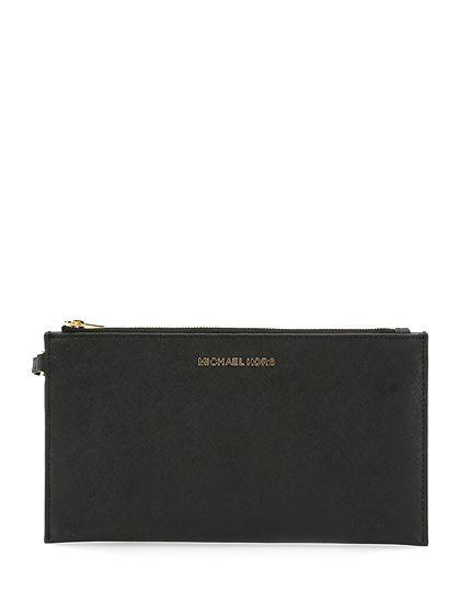 Michael Kors - Borse - Accessori - Pochette in pelle saffiano con chiusura a zip e polsiera. Decorazioni gold, misure 25 x 13,5 cm. - BLACK - € 110.00