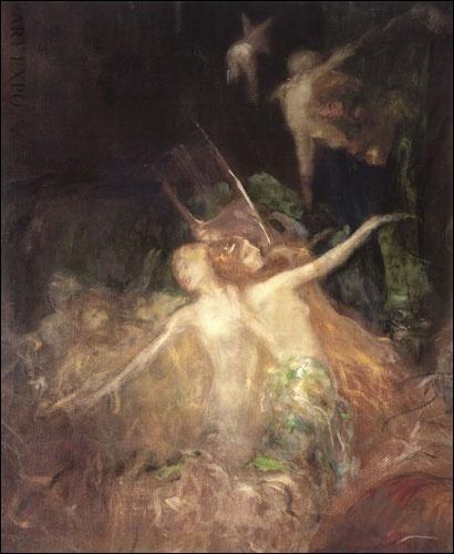Χορός ερωτιδέων με άρπα, Γύζης
