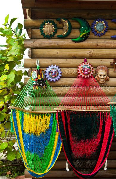 Colorful hammocks in Belize City, Belize, Central America.