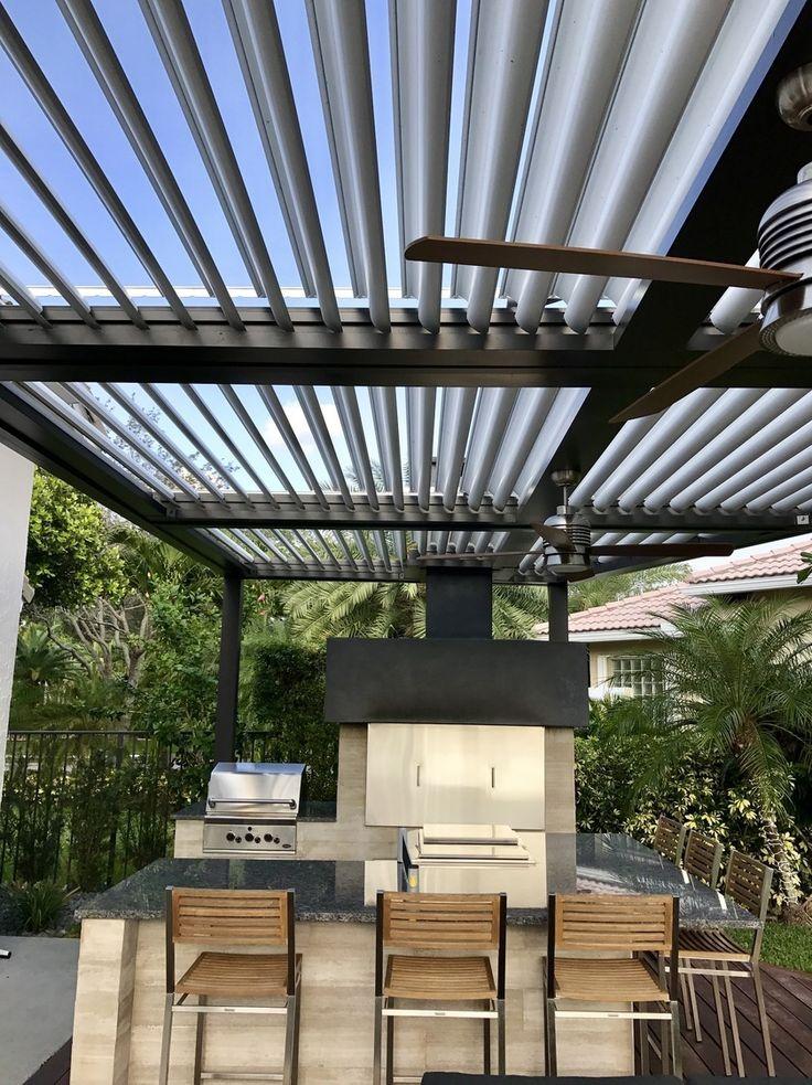 The Arcadia automatic louvered pergola roof. Sun when you