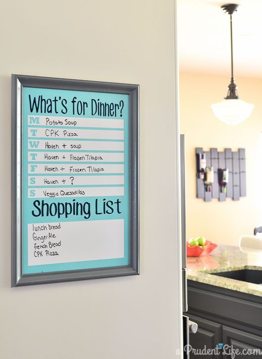 DIY Dry Erase Menu Board