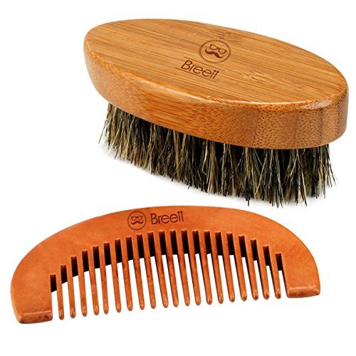 Peine barba, Peine para barba, Breett Cepillo para la barba de cerdas y kit de peine de madera de schima, Equipos para diseño de barba, Kit de peine de barba para barba y bigote con bolsa de reserva