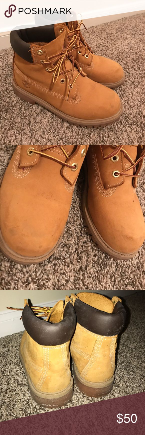 Classic Butters Timberland Boots Kids size 6, women's size 8! Barely worn, light dirt that's easily cleaned off. Worn lightly for an event so I no longer need them. Let me know if you have any more questions! Price is firm for their condition. Timberland Shoes Combat & Moto Boots