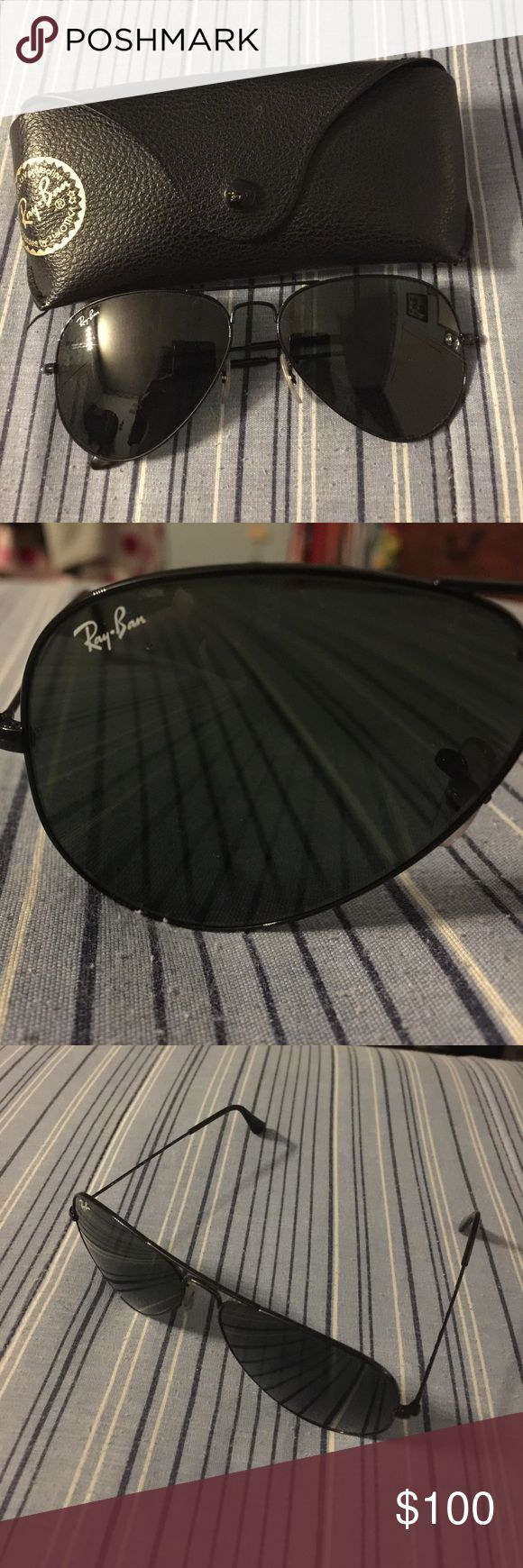 Ray Ban Sunglasses Large Aviator Ray Ban Large Aviators with Black frame and Black lenses gently used. Ray-Ban Accessories Sunglasses