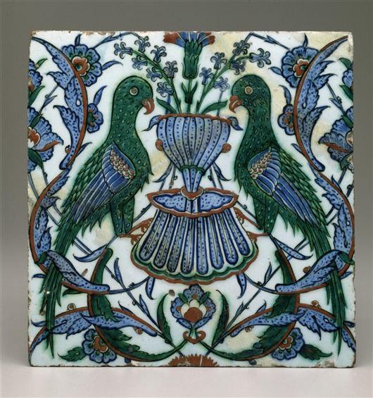 Tile (Turkish) Date c. 1600 Medium Underglaze-painted fritware