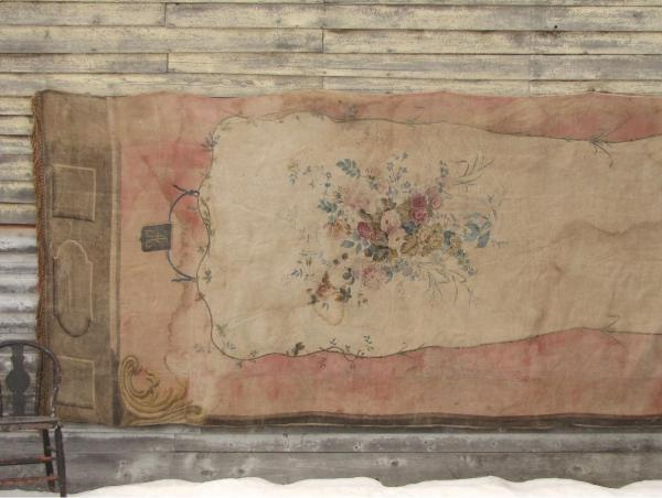 Antique French handpainted tapestry curtain Textile Trunk Trouvais