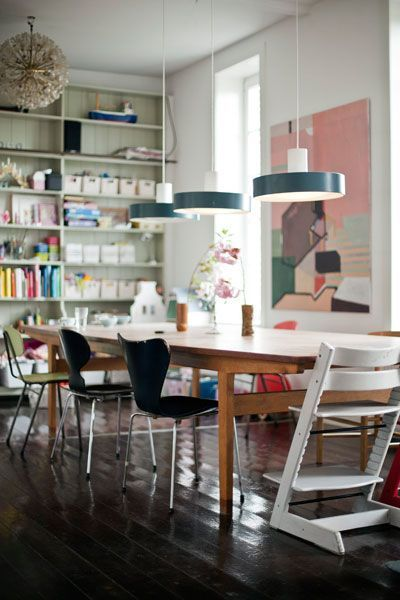 Bookshelves and the best kid chair ever | Stokke Tripp Trapp chair in White